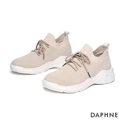 達芙妮DAPHNE 休閒鞋-簡約綁帶輕盈透氣休閒鞋- 米白