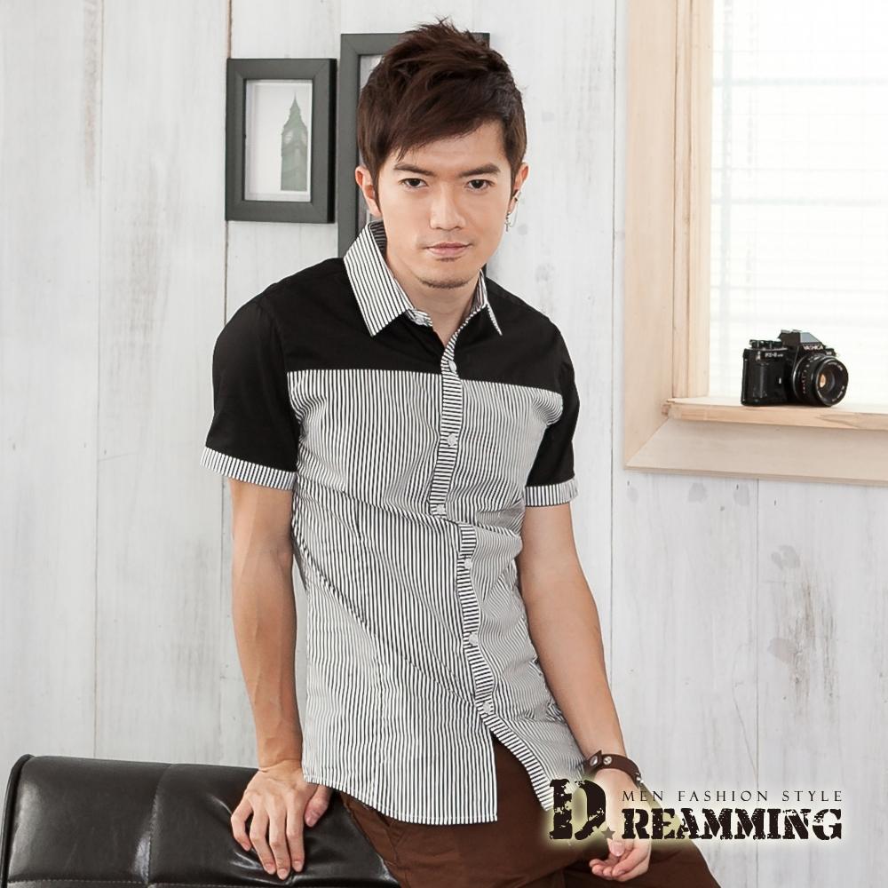 Dreamming 韓風拼接條紋短袖休閒襯衫-黑色