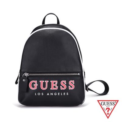 GUESS-女包-字母logo素面後背包-黑
