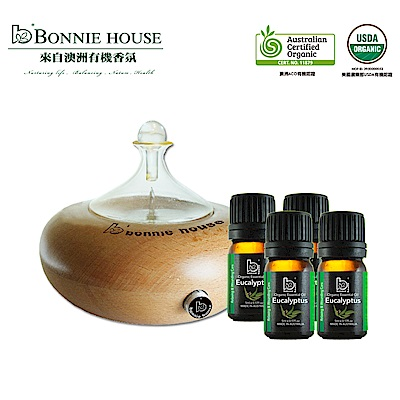 Bonnie House 呼吸淨化組_月之湖淨化賞香儀+雙有機認證尤加利精油5ml*4