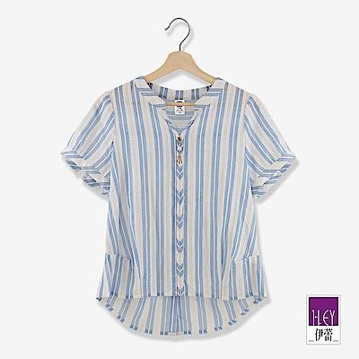 ILEY伊蕾 100%純棉縷空緹織條紋上衣(水)