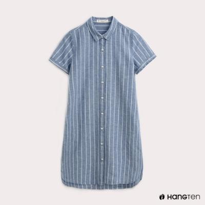 Hang Ten-女裝-條紋棉麻短袖洋裝
