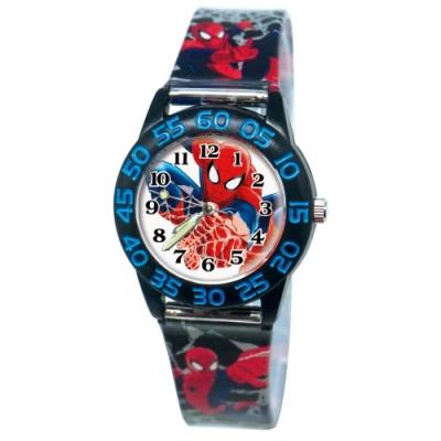 DF童趣館 - 正版授權漫威系列夜光指針兒童數字殼膠手錶-蜘蛛人黑款
