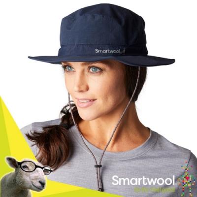 SmartWool 新款 Sun Hat 輕量羊毛吸排防臭登山圓盤帽子.遮陽帽.防晒帽.中盤帽_深海軍藍