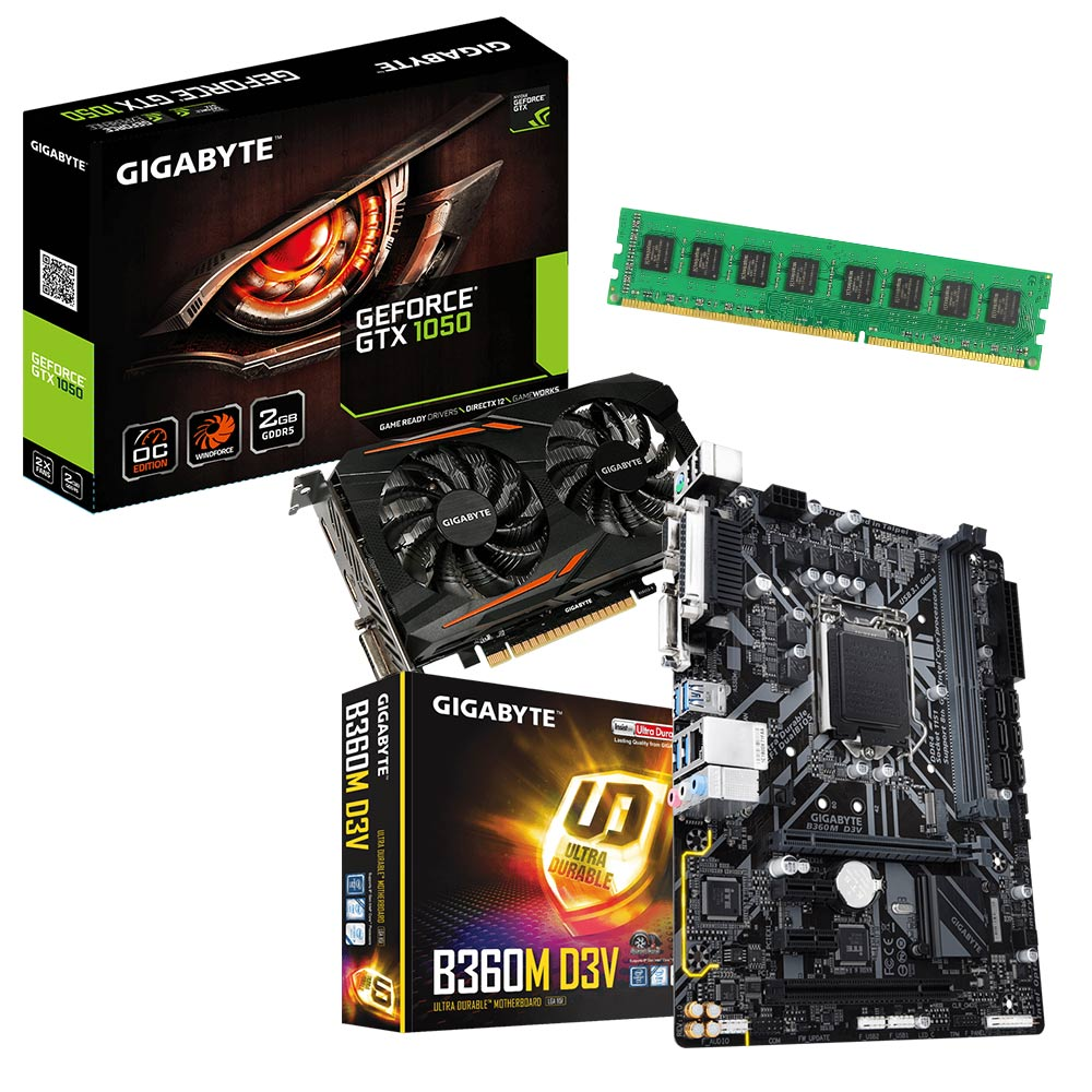 技嘉B360M-D3V+技嘉GTX1050 OC+8GB記憶體 超值組