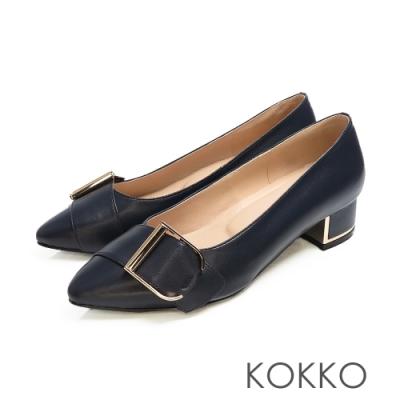 KOKKO - 經典尖頭羊皮鏡面粗跟鞋 - 黯藍