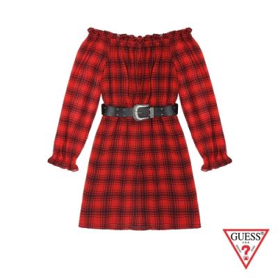 GUESS-女裝-格紋一字領連身洋裝-紅