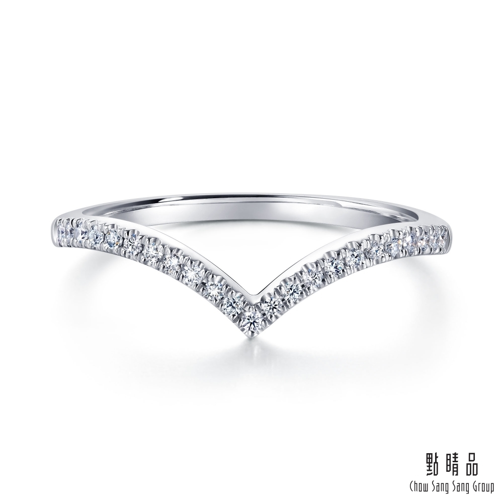 點睛品 Promessa V型線條 18K金鑽石戒指
