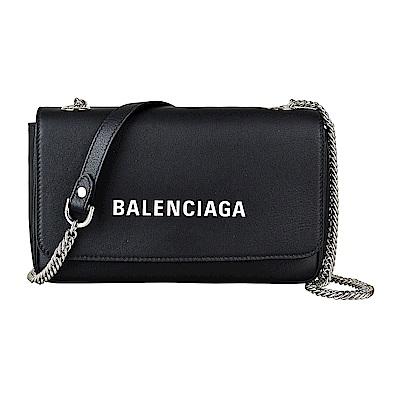 BALENCIAGA巴黎世家經典印花LOGO牛皮鏈帶扣式斜背包(黑)
