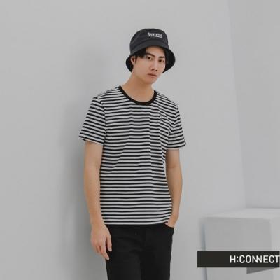 H:CONNECT 韓國品牌 男裝-簡約純色條紋T-Shirt-黑色