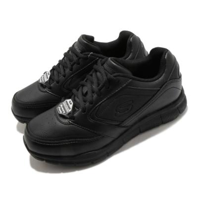 Skechers 休閒鞋 Nampa Wyola Wide 女鞋 耐油 止滑 彈性膠底 防觸電 黑 白 77235WBLK