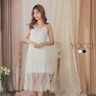 東京著衣-YOCO 高彈力細肩帶拼接蕾絲裙襬內搭洋裝-S.M.L(共二色)