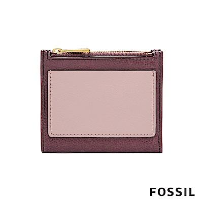 FOSSIL SHELBY 真皮系列兩折拉鍊短夾-暗紅色