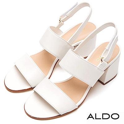 ALDO 原色牛皮鞋面魔鬼氈式粗跟涼鞋~清新白色