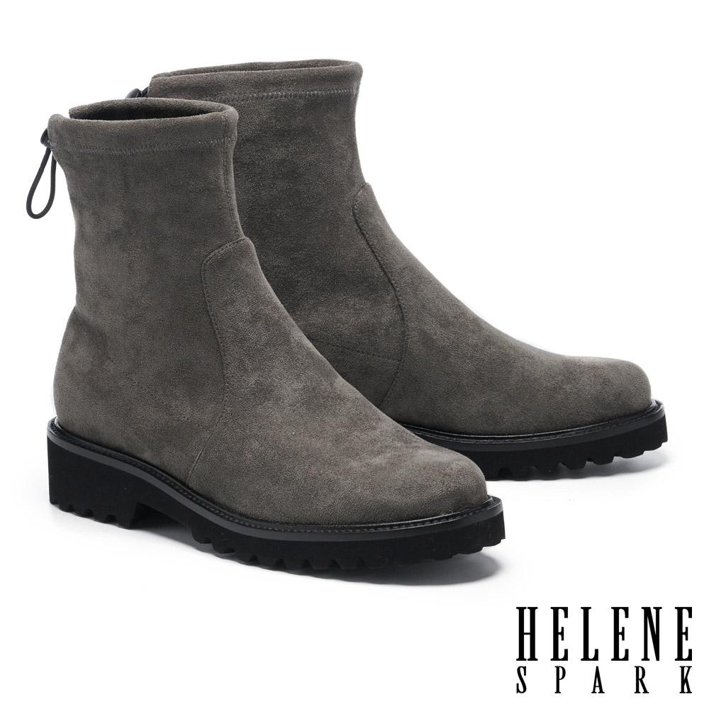 短靴 HELENE SPARK 極簡率性彈力羊絨麂布低跟厚底短靴-灰