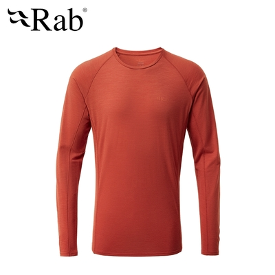 【RAB】Forge LS Tee 長袖羊毛透氣排汗衣 男款 紅土 #QBU85