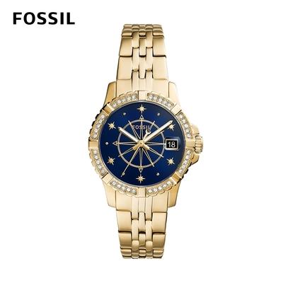 【FOSSIL】FB-01 煙火刻度絢爛鑲鑽女錶 金色不鏽鋼鍊帶 36MM ES5059
