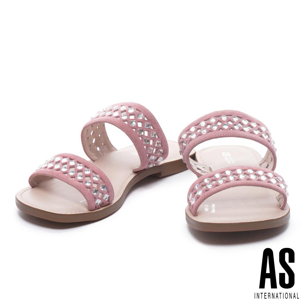 拖鞋 AS 鏤空晶鑽點綴羊麂皮低跟拖鞋-粉
