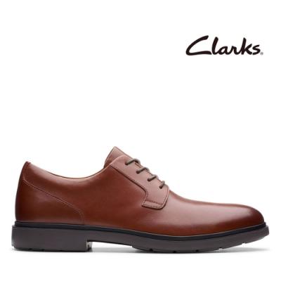 Clarks UN 極簡素面圓頭正裝紳士鞋 棕褐色