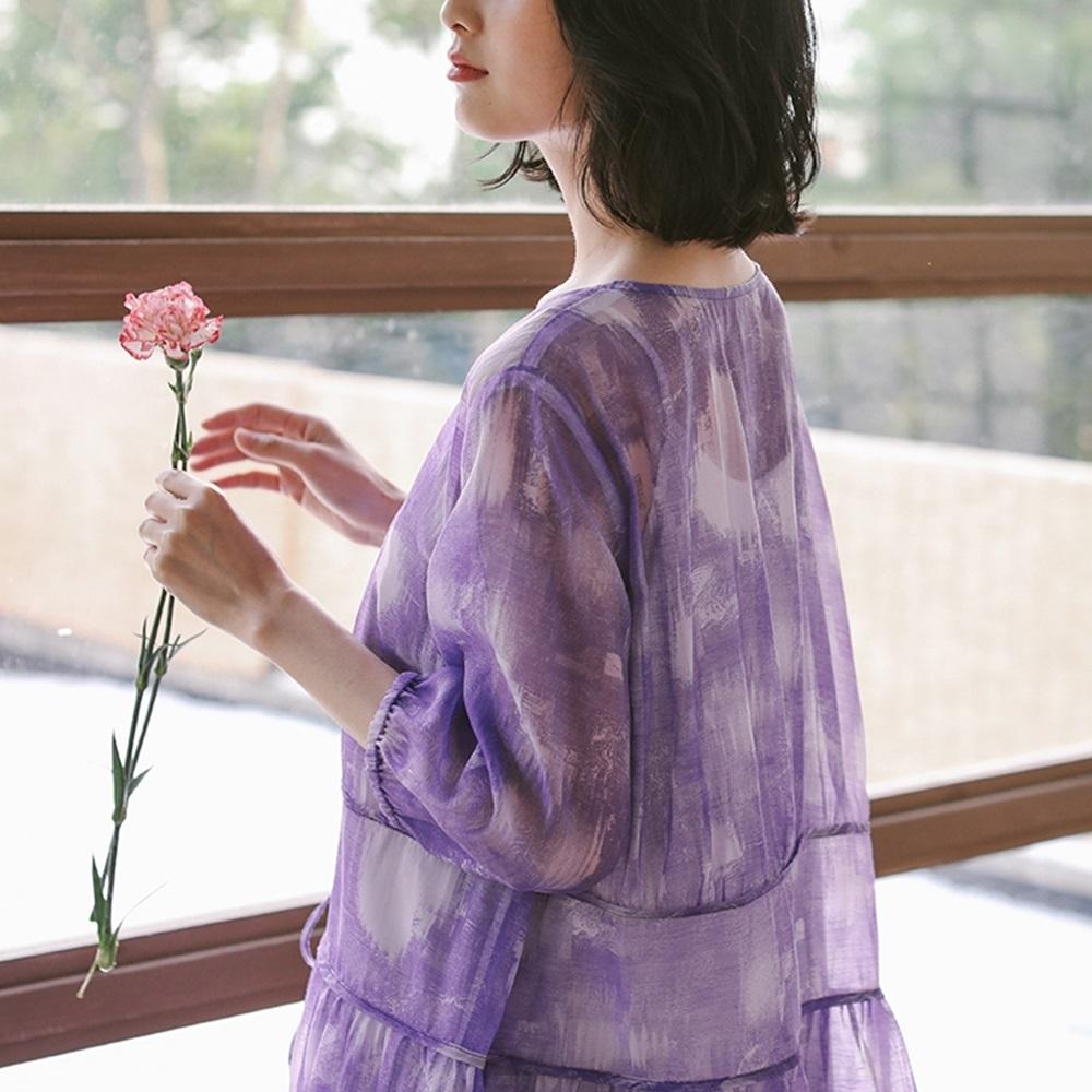 洋裝-紫色高端天絲氣質長裙-設計所在