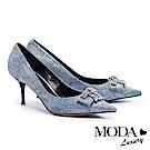 高跟鞋 MODA Luxury 超絕美華麗水鑽飾釦細高跟鞋-藍