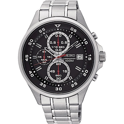 SEIKO精工 全新里程三眼計時手錶(SKS627P1)-黑/42mm
