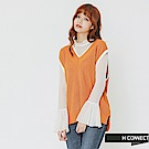 H:CONNECT 韓國品牌 女裝-撞色滾邊V領針織背心-黃