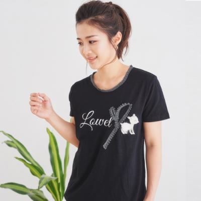 【白鵝buyer】 珍珠拼接立體銀色小鹿T恤_黑