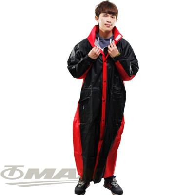 JUMP新二代新帥前開式休閒風雨衣-紅黑+通用鞋套