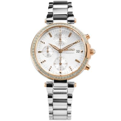 SEIKO 精工 施華洛世奇晶鑽 計時 日期 日本機芯 不鏽鋼手錶-銀x玫瑰金框/35mm
