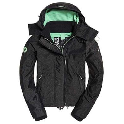 Superdry Arctic Pop SD 拉鍊連帽防風夾克 (黑色/薄荷綠)