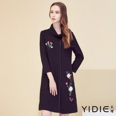 【YIDIE衣蝶】中國風粉林鳥刺繡短洋裝-黑