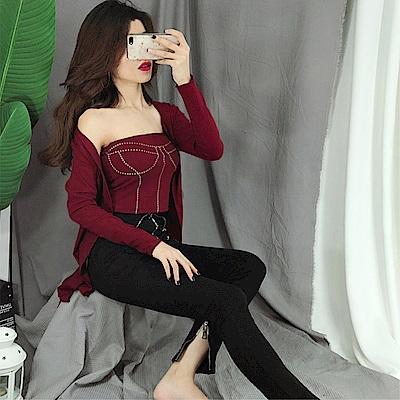 DABI 韓系性感印花露臍百搭不規則小外套長袖上衣