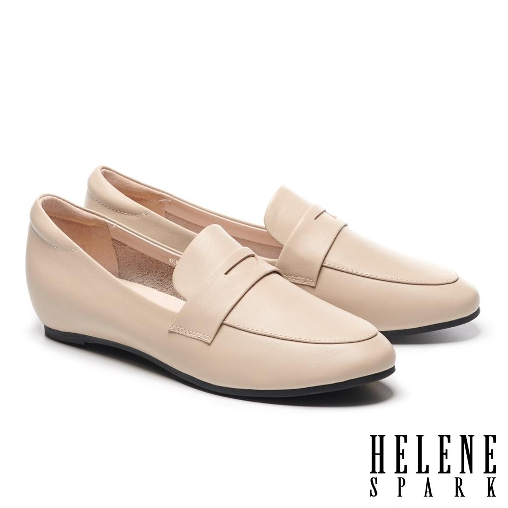 低跟鞋 HELENE SPARK 復刻經典全真皮內增高樂福低跟鞋-米