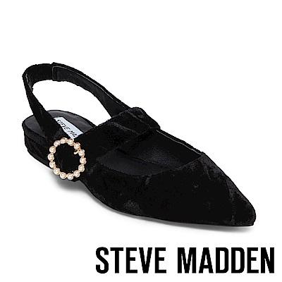 STEVE MADDEN-STORMY 尖頭珍珠圓扣低跟涼鞋-黑色