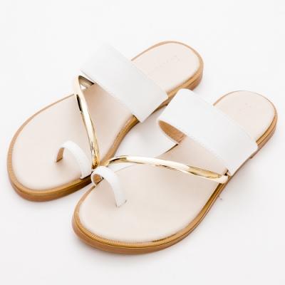River&Moon中大尺碼-金屬飾條套指涼拖鞋-白