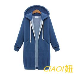 小清新純色長袖長款連帽外套 (共二色)-CIAO妞
