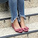巴西品牌 女 花舞名伶 平底鞋-棗紅色