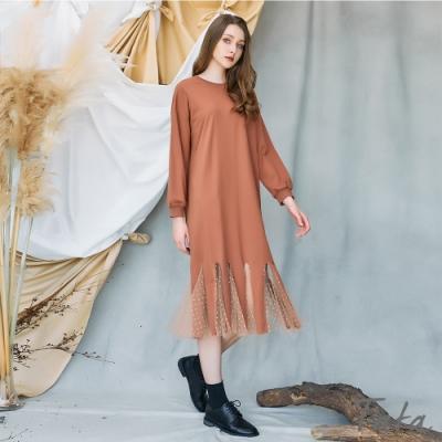 下擺造型鏤空點點網紗洋裝 共二色 TATA-(M~XL)