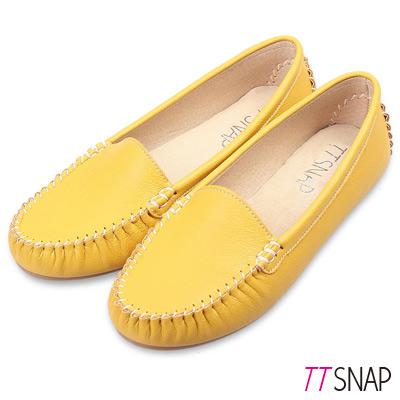 TTSNAP莫卡辛-MIT素面質感真皮豆豆鞋 黃