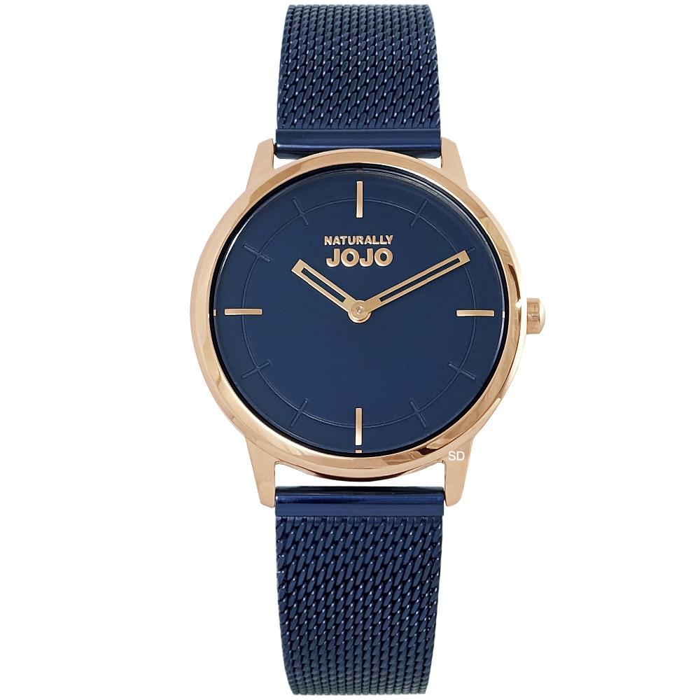NATURALLY JOJO 簡約時尚米蘭帶手錶-藍X玫瑰金/31mm