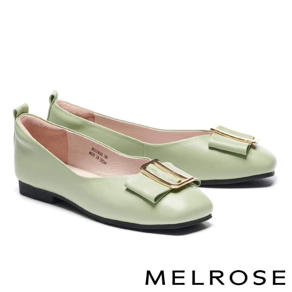 低跟鞋 MELROSE 氣質高雅蝴蝶結金屬飾釦全真皮方頭低跟鞋-綠