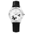 Disney 迪士尼米奇系列晶鑽刻度日本機芯兒童卡通皮革手錶-銀x黑/29mm