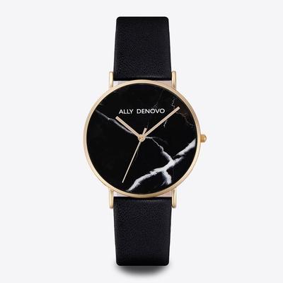 【ALLY DENOVO】Carrara Marble黑大理面黑真皮錶(AM5010.5)