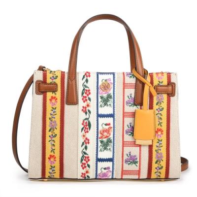 TORY BURCH  WALKER 復古緞帶花卉刺繡風格拼接棉麻皮革手提/肩斜背兩用包-小