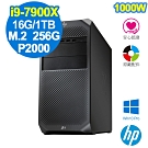 HP Z4 G4 Tower i9-7900X/16G/M.2-256G+1T/P2000