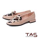 TAS 異材質拼接豹紋樂福鞋-人氣粉