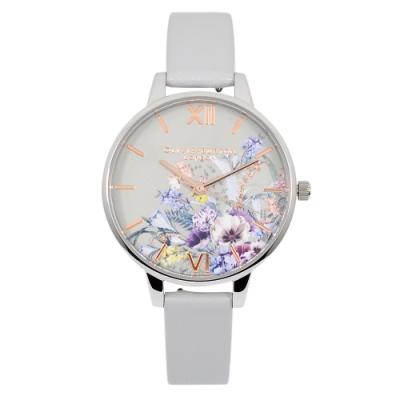 Olivia Burton 英倫復古手錶 魔法花園 灰色皮革錶帶銀色錶框34mm