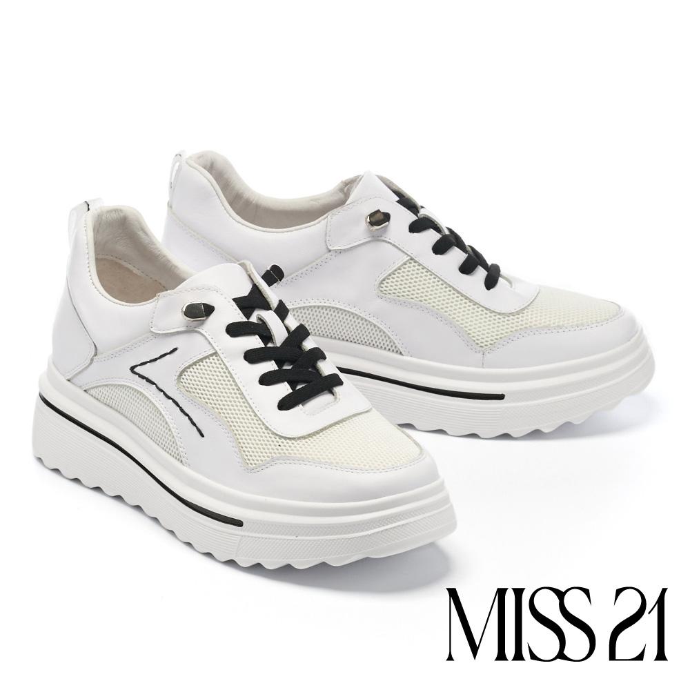 休閒鞋 MISS 21 日常潮態百搭跳色彈力綁帶厚底休閒鞋-白