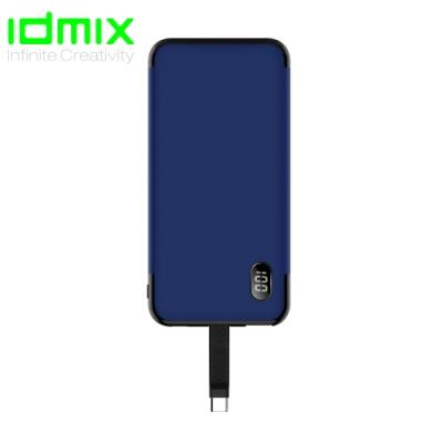 idmix 自帶線(Type C) P10C 行動電源-藍